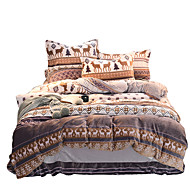 Duvet Cover Sets Animal 4 Piece Flannel Reactive Print Flannel 1pc Duvet Cover 2pcs Shams 1pc Flat Sheet