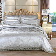 cheap Duvet Covers-Duvet Cover Sets Luxury 4 Piece Faux Silk Jacquard Faux Silk 4pcs (1 Duvet Cover, 1 Flat Sheet, 2 Shams)