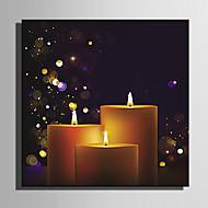 E-HOME® Stretched LED Canvas Print Art The Candle Series LED Flashing Optical Fiber Print One Pcs