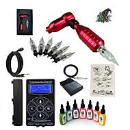 billige Tatoveringssett for nybegynnere-Tattoo Machine Startkit - 1 pcs tattoo maskiner med 7 x 15 ml tatovering blekk, Profesjonell LED strømforsyning 1 x roterende