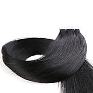 Tape In Hiukset Extensions 20kpl / pakkaus 2.2g / kpl Jet Black Musta Tummanruskea Ash Brown Keskiruskea 22 tuumainen