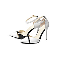 Damen Schuhe PVC Leder Gummi Frühling Herbst Neuheit High Heels Stöckelabsatz Spitze Zehe Geschlossene Spitze Schnalle Für Kleid Party &