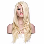 Syntetisk Lace Front Parykker Lige Blond Syntetisk hår Blond Paryk Dame Medium Længde L-formet hætte Lys Gylden