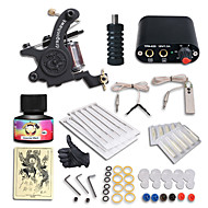 Starter Tattoo Kits-Tattoo Machine Starter Kit 1 cast iron machine liner & shader Mini power supply 1 x stainless steel grip 10 pcs Tattoo Needles