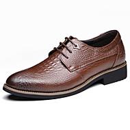 メンズ 靴 本革 オールシーズン コンフォートシューズ アイデア フォーマルシューズ オックスフォードシューズ アニマルプリント 用途 結婚式 パーティー ブラック イエロー Brown