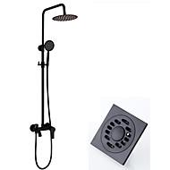 Modern/Comtemporary Sustav za tuširanje Tuš s kišnim mlazom Tuš uključen Keramičke ventila Two Holes Crn, Set za slavinu