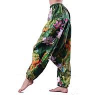 Damer Vintage Kineseri Mikroelastisk Løstsiddende Chinos Bukser,Alm. taljede Hør Stribet Blomstret Trykt mønster Alle årstider