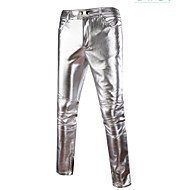 cheap -Men's Exaggerated Cotton Slim Chinos Pants - Solid Colored Gold / Spring / Fall