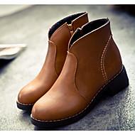billige -Dame Sko Gummi Kunstlær Høst Vinter Trendy støvler Kampstøvler Støvler Ankelstøvler Til Avslappet Svart Lysegul