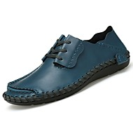 Masculino sapatos Couro Ecológico Primavera Outono Conforto Oxfords Para Casual Preto Azul Castanho Claro Castanho Escuro