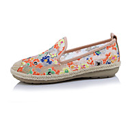 cheap Women's Slip-Ons & Loafers-Women's Shoes Silk Spring Summer Novelty Comfort Loafers & Slip-Ons Round Toe for Casual Black Orange Pink