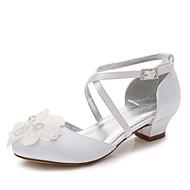 billige Sko til blomsterpiger-Pige Sko Silke Forår sommer Tiny Heels for teenagere / Sko til blomsterpiger / Ankelrem Hæle Bjergkrystal / Rosette / Applikeret broderi