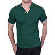 男性用 週末 プラスサイズ Polo, 活発的 スタンド スリム ソリッド コットン
