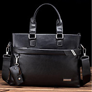 Men Bags PU Cowhide Briefcase Zipper for Casual All Season Black Brown