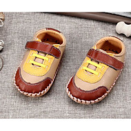 Bebê sapatos Pele Primavera Outono Conforto Primeiros Passos Rasos Para Casual Marron