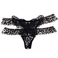 Mulheres Ultra Sexy Tanga & Fio Dental - Camadas Com Transparência, Leopardo Cintura Média