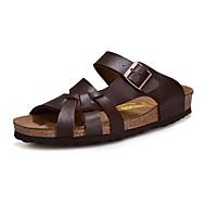 お買い得  メンズサンダル-メンズ 靴 レザー 春 夏 アイデア サンダル アイレット のために カジュアル ホワイト ブラック Brown