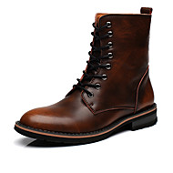Men's Shoes Leather Spring Fall Winter Fashion Boots Boots Lace-up For Casual Gray Dark Brown Burgundy