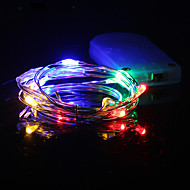 Χαμηλού Κόστους 9η επέτειος πωλήσεων-hkv® 1m πολύχρωμο οδήγησε φως μπαταρία χορδή οδήγησε χάλκινο σύρμα νεράιδα διακοπές φώτα χριστουγεννιάτικη βοτανική διακόσμηση κόμματος