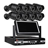 billige AHD-sæt-8 ch sikkerhedssystem 7 tommer lcd 1080n ahd dvr 8 * 1,3mp vejrbestandige kameraer med nattesyn
