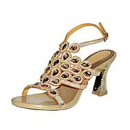 Mulheres Sapatos Poliuretano Primavera Verão Botas da Moda Sandálias Dedo Aberto Pedrarias Cristais Gliter com Brilho Presilha Corrente
