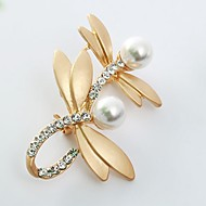 Damskie Broszki Sztuczna perła Imitacja diamentu Ważka Zwierzę damska Słodkie Broszka Biżuteria Złoty Srebrny Na Codzienny