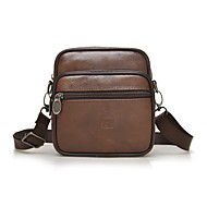 Men Bags Cowhide Briefcase Zipper for All Season Brown