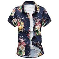 פרחוני סגנון סיני מידות גדולות כותנה, חולצה - בגדי ריקוד גברים לבן XXXXL / שרוולים קצרים / קיץ