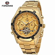 FORSINING Men's Fashion Watch Dress Watch Wrist watch Automatic self-winding Calendar Stainless Steel Band Casual Gold