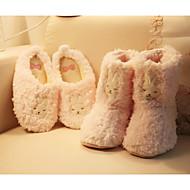 baratos Sapatos Femininos-Mulheres Flocagem Inverno Conforto / Forro de peles Chinelos e flip-flops Dedo Fechado Rosa claro