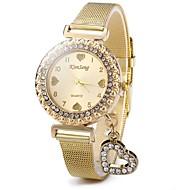 billige Quartz-Dame Quartz Diamantbelagt ur Kinesisk Afslappet Ur Rustfrit stål Bånd Glitrende Heart Shape Afslappet Mode Guld