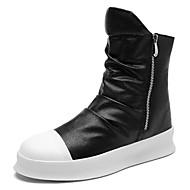 お買い得  メンズブーツ-男性用 靴 PUレザー 春 秋 ファッションブーツ ブーツ ミドルブーツ のために カジュアル ホワイト ブラック ブラックとホワイト