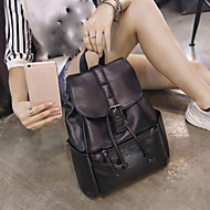 Women Bags PU Backpack Buttons Zipper for Casual All Season Black