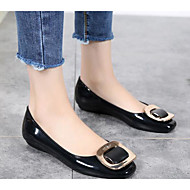 Women's Shoes PVC Leather Spring Summer Comfort Flats For Casual Almond Wine Black