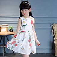 Menina de Vestido Casual Floral Verão Outono Algodão Sem Manga