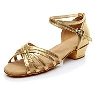 baratos Sapatilhas de Dança-Mulheres Sapatos de Dança Latina Materiais Customizados Salto Salto Baixo Personalizável Sapatos de Dança Dourado / Preto / Prata