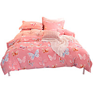 Duvet Cover Sets Animals 4 Piece Flannel Reactive Print Flannel 1pc Duvet Cover 2pcs Shams 1pc Flat Sheet