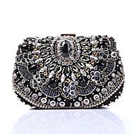 baratos Clutches & Bolsas de Noite-Mulheres Bolsas Poliéster Bolsa de Festa Lantejoulas / Detalhes em Cristal Preto