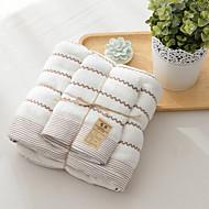 Frisse stijl Badlaken Set,Gestreept Superieure kwaliteit Poly / Katoen Handdoek
