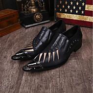 cheap Men's Shoes-Men's Shoes Leather Spring Summer Novelty Comfort Oxfords Rivet for Wedding Party & Evening Black