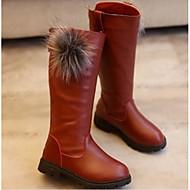 tanie Obuwie dziewczęce-Dla dziewczynek Buty Derma Zima Jesień Obuwie w stylu wojskowym Comfort Buciki na Casual Black Czerwony Burgundowy