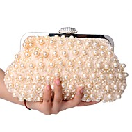 cheap Bags-Women's Bags Polyester Clutch Pearls Champagne / White / Black / Wedding Bags