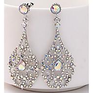 Damen Tropfen-Ohrringe Strass Ohrringe damas Elegant Schmuck Silber Für Hochzeit Bühne