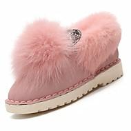 Feminino Sapatos Cashmere Inverno Conforto Mocassins e Slip-Ons Sem Salto Ponta Redonda Pedrarias para Casual Preto Bege Rosa claro