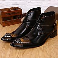 baratos Sapatos Masculinos-Homens Curta/Ankle Pele Napa Outono / Inverno Botas Botas Curtas / Ankle Marron / Festas & Noite