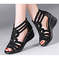 Women's Shoes Cowhide Spring Fall Comfort Sandals Wedge Heel for Casual Black Gold