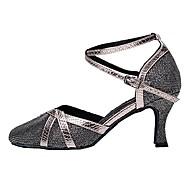 billige Moderne sko-Dame Moderne sko Glimtende Glitter Sandaler Kustomisert hæl Kan spesialtilpasses Dansesko Sølv / Grå / Lilla / Innendørs