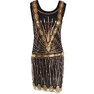 Veliki Gatsby Vintage 1920-te Kostim Žene Kostim za party Haljina s flapperom Koktel haljina Zlatan Vintage Cosplay Poliester Bez rukávů