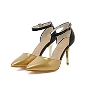 cheap Women's Heels-Women's Shoes Leatherette Summer Ankle Strap Heels Stiletto Heel Pointed Toe Buckle for Wedding Party & Evening Gold Silver