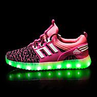Lány Tornacipők Kényelmes Világító cipők Tüll Tavasz Nyár Ősz Sport Hétköznapi Gyalogló LED AlacsonyFekete Zöld Kék Rózsaszín Világos